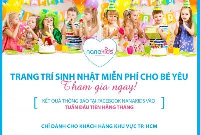 Chương trình trang trí sinh nhật miễn phí từ Nanakids