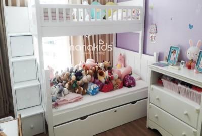 Thiết kế phòng bé gái Mrs. Susan CC Estella Q2 với giường tầng trang nhã.