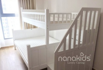 Sự thật về giường tầng gỗ thông dài hơn 1m8 dành riêng cho trẻ em.