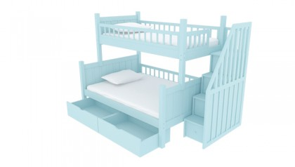 BOB STAIRWAY BUNK BED BABY BLUE