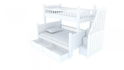BOB STAIRWAY BUNK BED WHITE