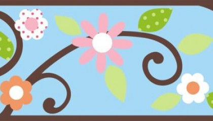 Scroll Floral Border - Blue/Brown
