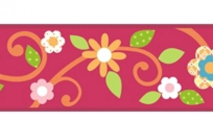 Scroll Floral Border - Magenta/Orange