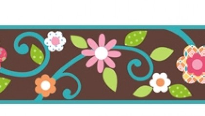 Scroll Floral Border - Brown/Teal
