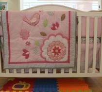 Baby Bedding - Set 4 pink flower