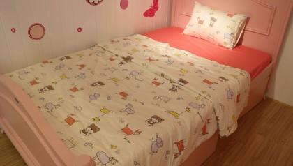 Bedding set pink animals 120cm